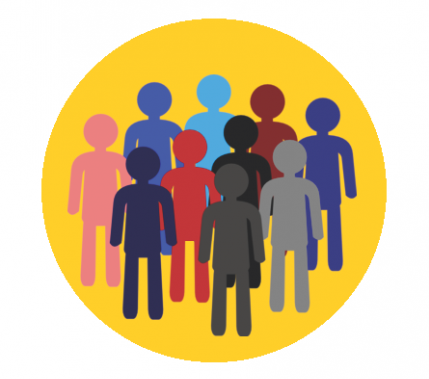 graphic with outlines of people on yellow circle