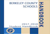 cover of the 2017- 2018 student handbook for Berkeley County Schools blue and tan check pattern