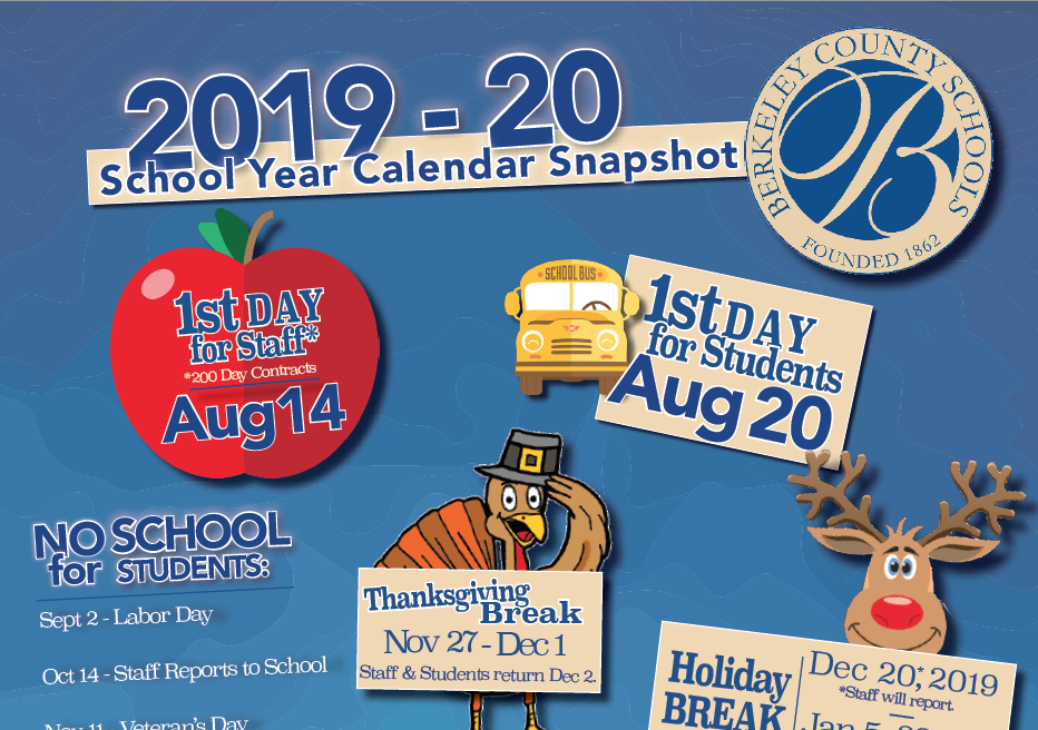 2019 - 20 calendar snapshot with bcs logo, apple, bus and reindeer icons.