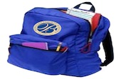 blue backpack with berkeley county schools logo on front