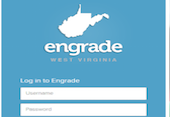 engrade login screen with state of west virginia outline and login and password field
