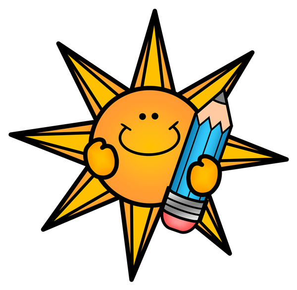 Picture depicts a cartoon sun holding a pencil.