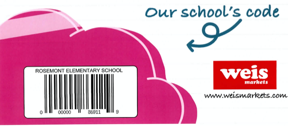 Image displays a barcode to scan to help Rosemont benefit from the Weis 4 School program.