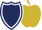 The Martinsburg Initiative Logo - a navy blue shield and a golden apple.