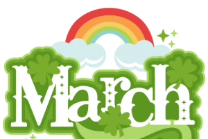 March in green type with a rainbow