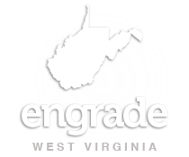 West Virginia outline with Engrade written in it