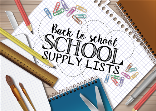 school supply list with supplies spread out on table