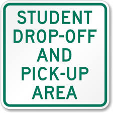 parent drop off area sign