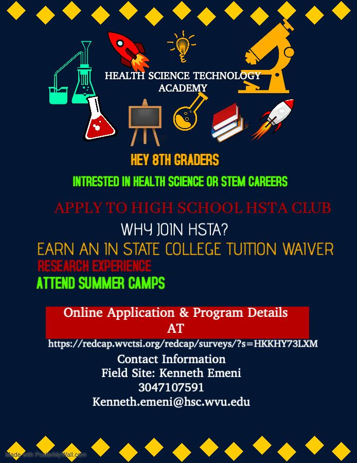 Flier encouraging students to apply to the Health Science Technology Academy