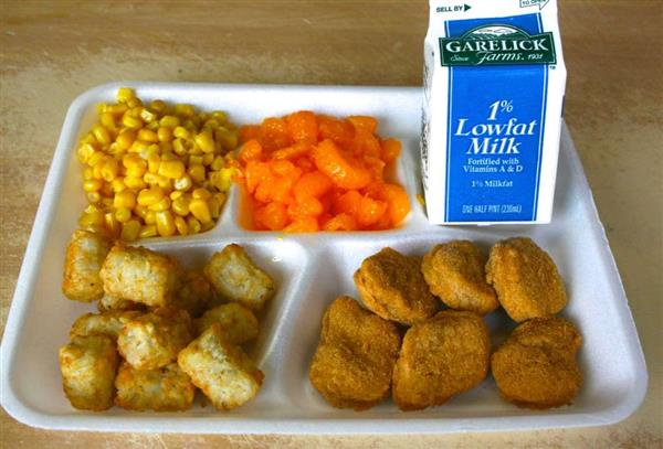 school tray with chicken nuggets, milk and vegetables