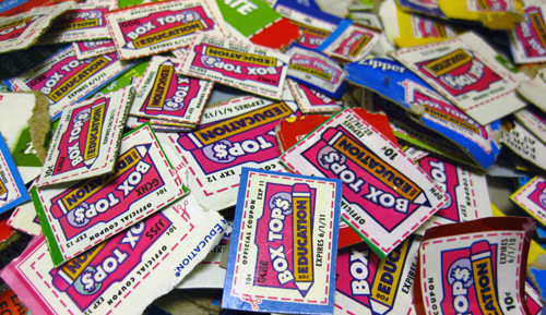 box tops for education cut from packaging.