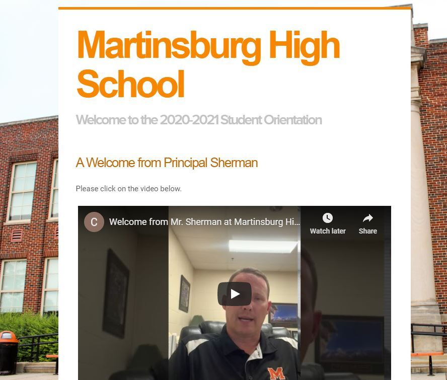 Martinsburg High Virtual Orientation