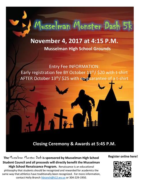 Monster Dash 5k flyer with haunted house image.