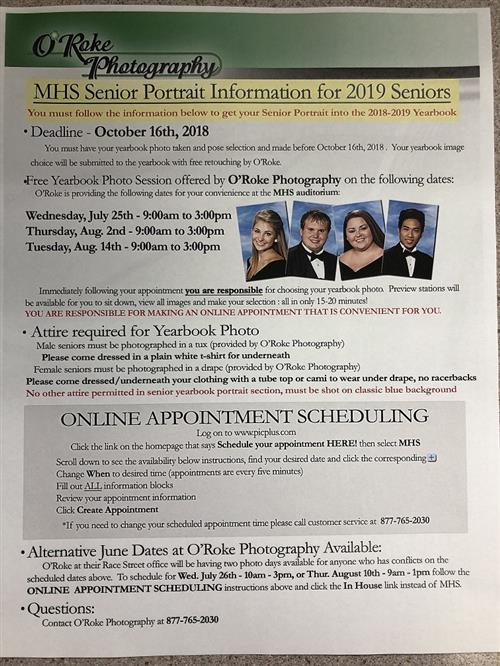 2019 Senior Portrait FAQs