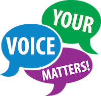 Your Voice Matters speech bubble icon