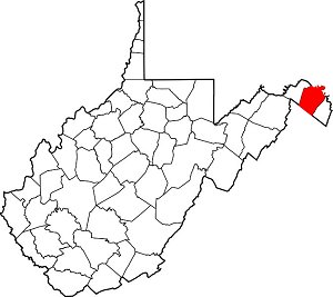West Virginia county map with filled in Berkeley County outline.