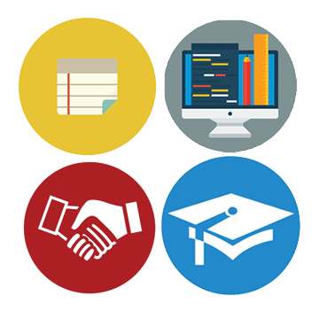 notebook paper, computer monitor, handshake and graduation cap icons