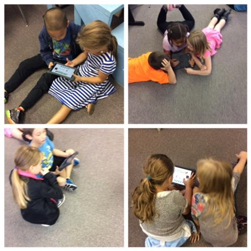 2nd graders working together to identify lines and spaces on the music staff.