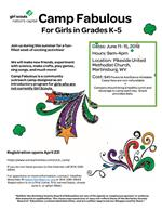 Camp Fabulous Flyer for Girls in Grades K - 5