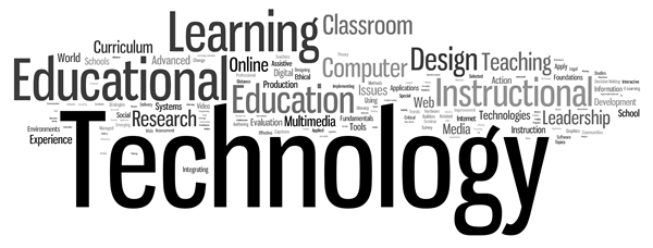 word cloud using education technology terms, learning, classroom, computer, design, teaching, instructional leadership