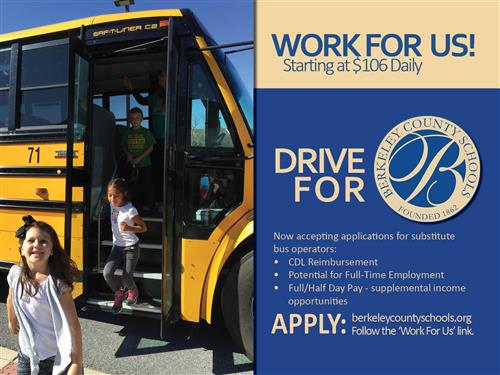 Work for us. Now accepting applications for substitute bus operators