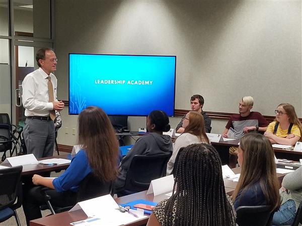 students meet with Dr. Murphy in Leadership Academy