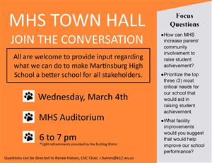 Announcement of MHS Town Hall  3/4/202 at 6 to 7 in Auditorium