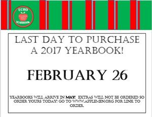 Last Day to Buy Yearbook